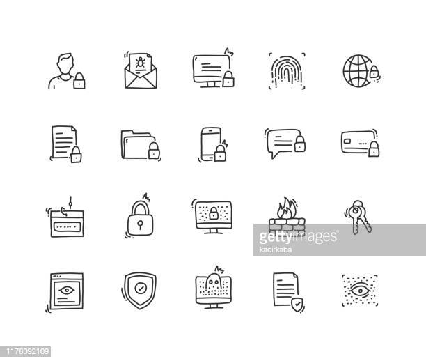 cyber security icon set - guarding stock illustrations