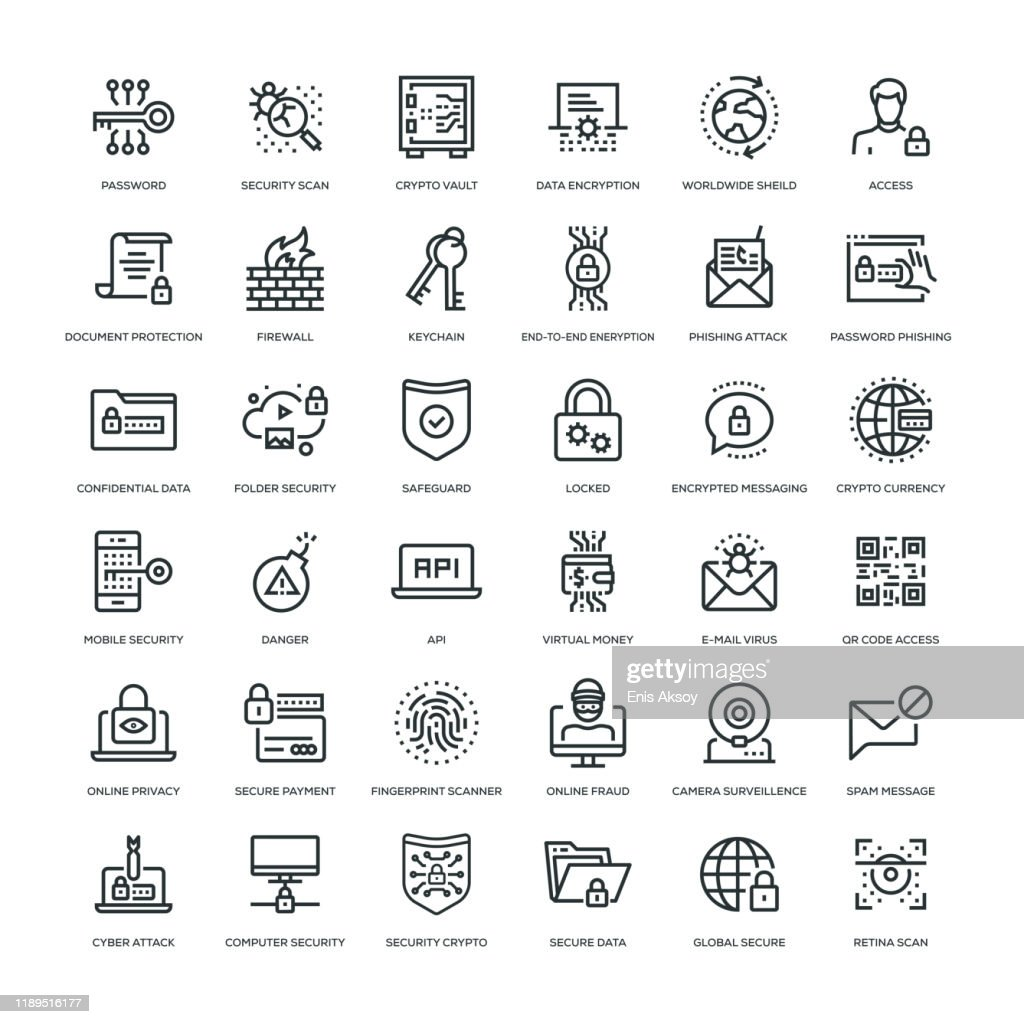 Cyber Security Icon Set : Stock Illustration