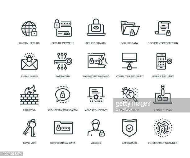 cyber security icons - line series - security code stock illustrations
