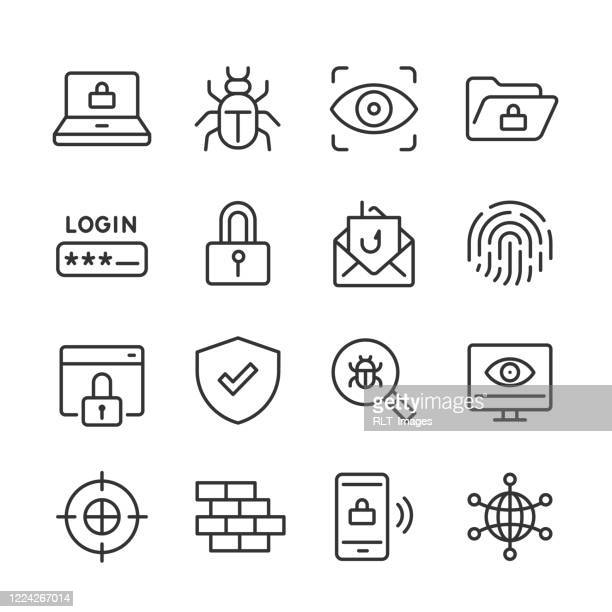 cyber security icons — monoline series - identity theft stock illustrations