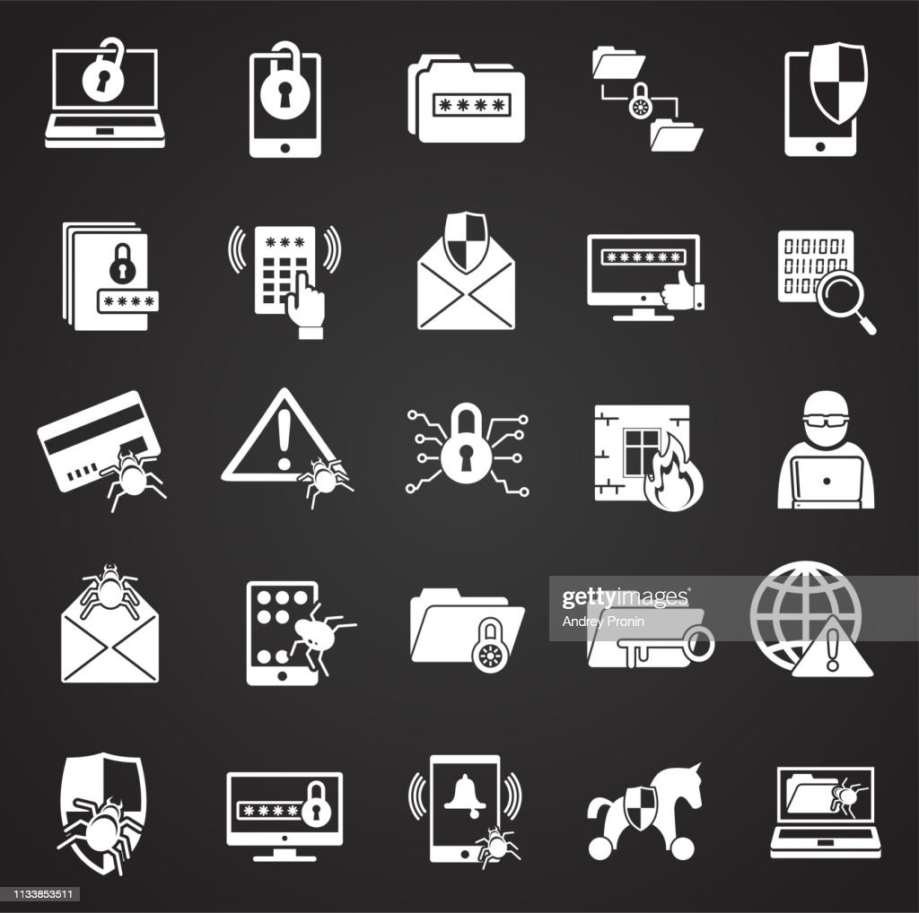 Cyber security icons set on black background for graphic and web design. Simple vector sign. Internet concept symbol for website button or mobile app.