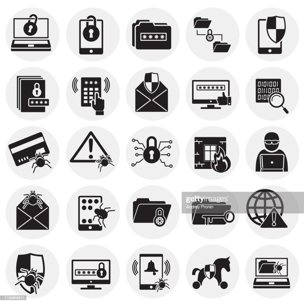 Cyber security icons set on circles background for graphic and web design. Simple vector sign. Internet concept symbol for website button or mobile app.