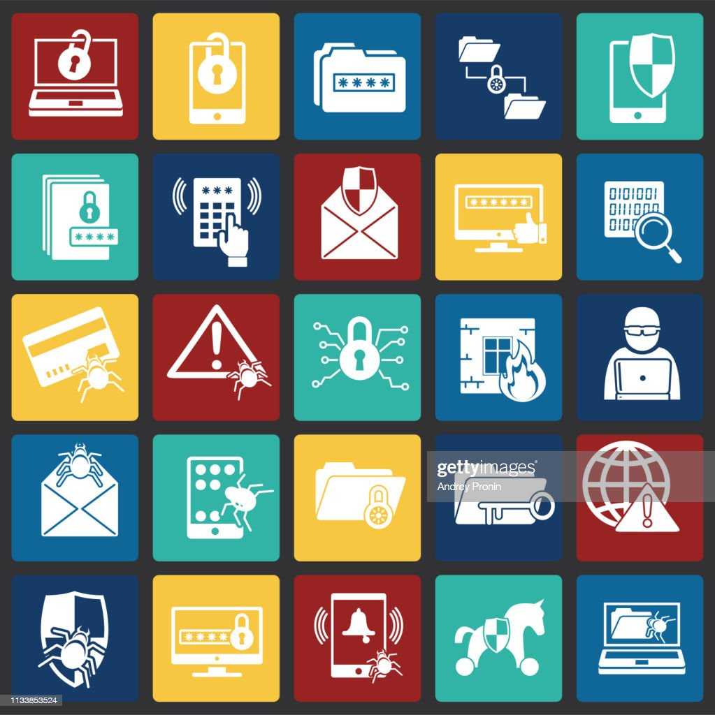 Cyber security icons set on color squares background for graphic and web design. Simple vector sign. Internet concept symbol for website button or mobile app.