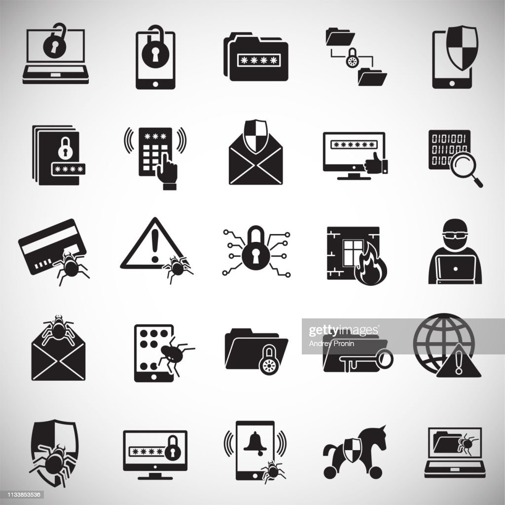 Cyber security icons set on white background for graphic and web design. Simple vector sign. Internet concept symbol for website button or mobile app.