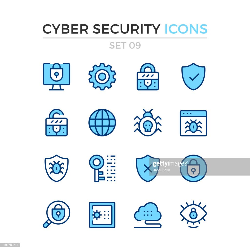 Cyber security icons. Vector line icons set. Premium quality. Simple thin line design. Stroke, linear style. Modern outline symbols, pictograms