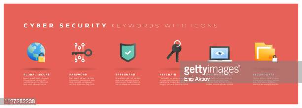 cyber security keywords with icons - encryption stock illustrations