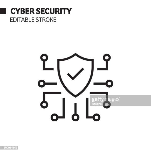cyber security line icon, outline vector symbol illustration. - verification stock illustrations