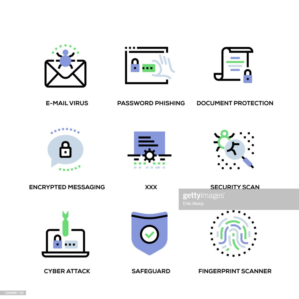 Cyber Security Line Icon Set : stock illustration