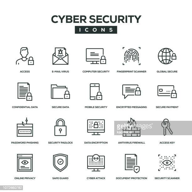 cyber security line icon set - log on stock illustrations