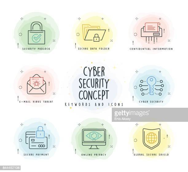 cyber security line icon set with