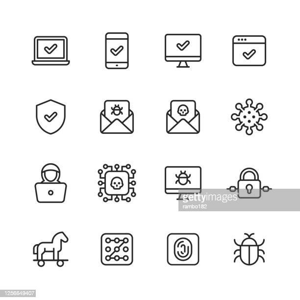 cyber security line icons. editable stroke. pixel perfect. for mobile and web. contains such icons as shield, bug, virus, trojan horse, hacker, thief, network, padlock, pass code, password, identity, phishing, surveillance, firewall, programming, privacy - computer virus stock illustrations