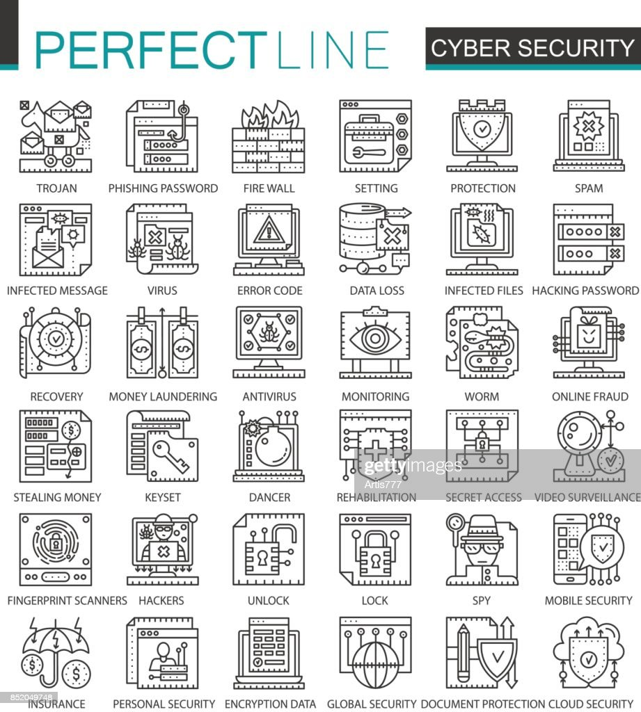 Cyber security outline mini concept symbols. Computer network protection modern stroke linear style illustrations set. Perfect thin line icons.