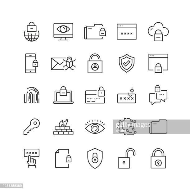 cyber security related vector line icons - shield stock illustrations