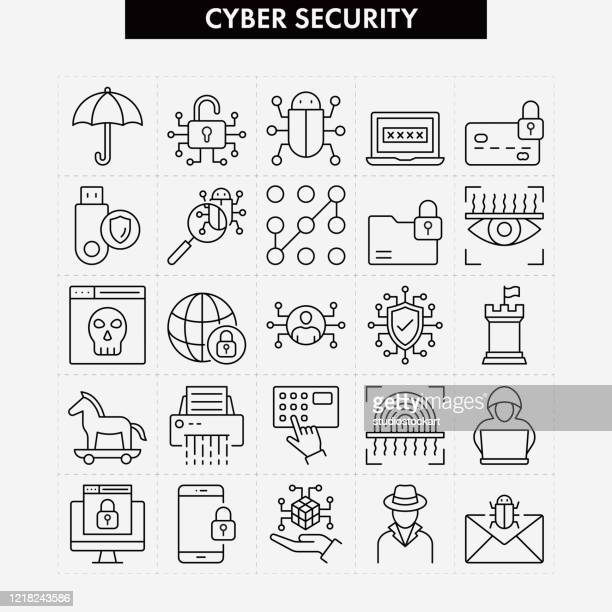cyber security related vector line icons - computer crime stock illustrations
