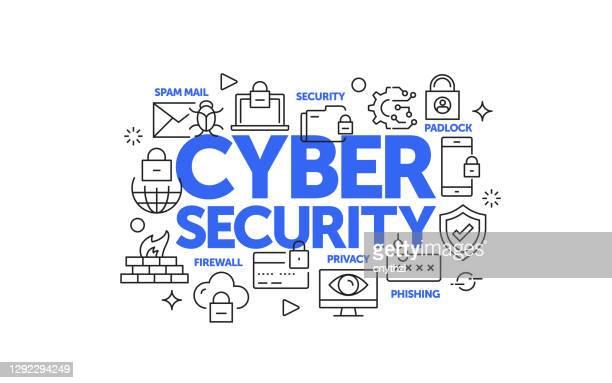 cyber security related web banner line style. modern linear design vector illustration for web banner, website header etc. - antivirus software stock illustrations