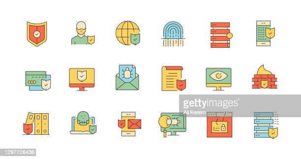 cyber security, safeguard, access, fingerprint scanner, firewall icons - security scanner stock illustrations