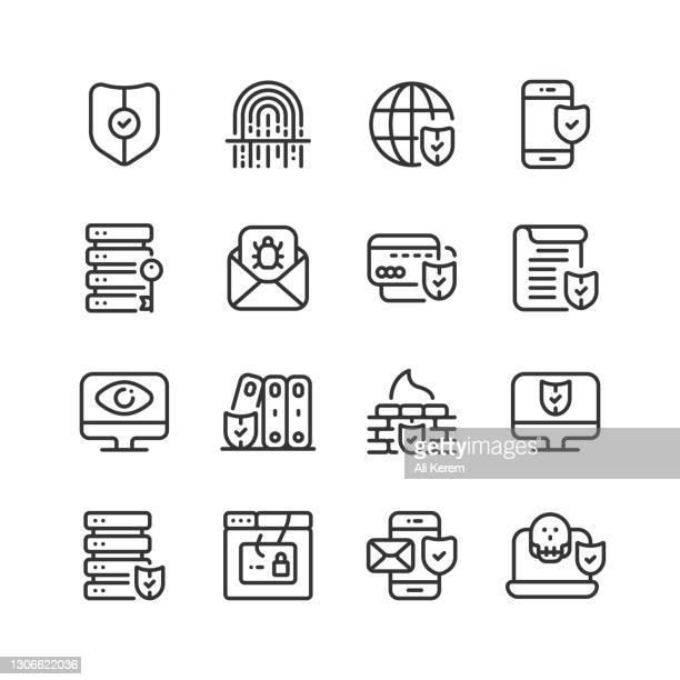 cyber security, safeguard, access, fingerprint scanner, firewall icons - eye scanner stock illustrations