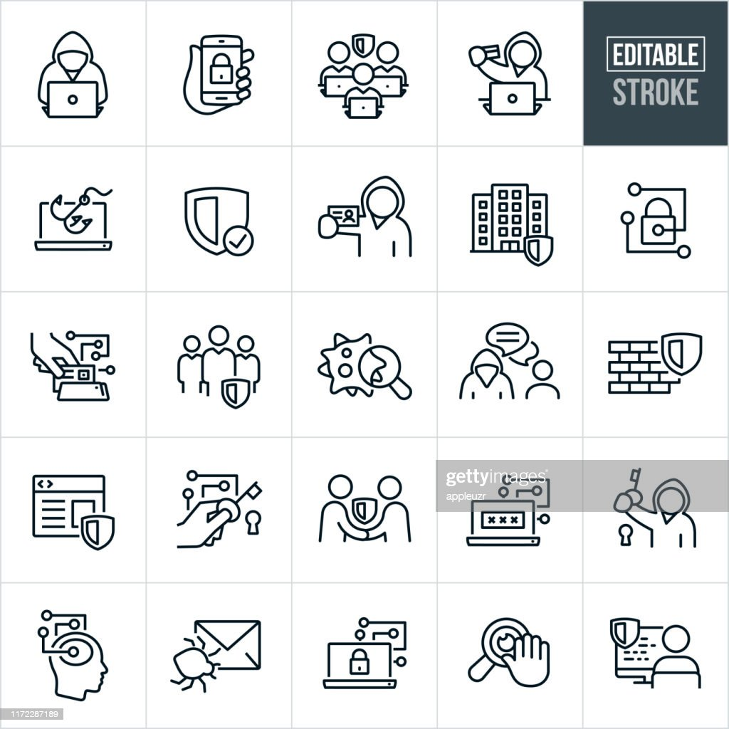 Cyber Security Thin Line Icons -Editable Stroke : Stock Illustration