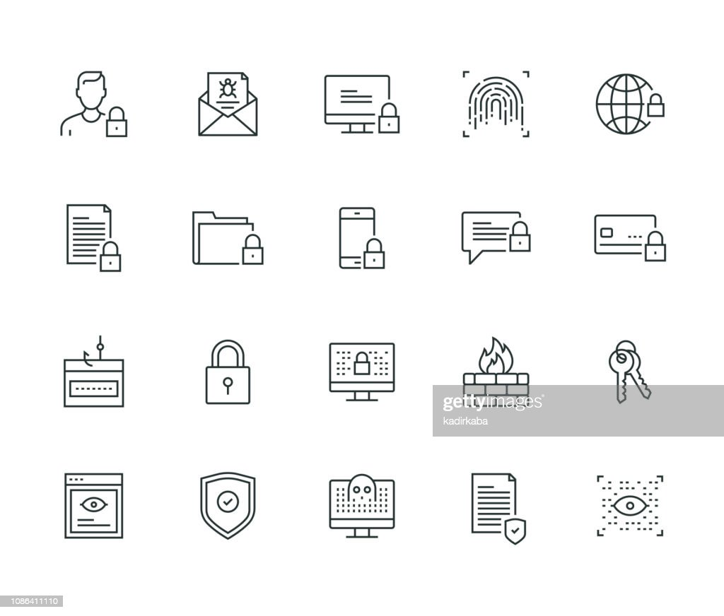 Cyber Security Thin Line Series : stock illustration