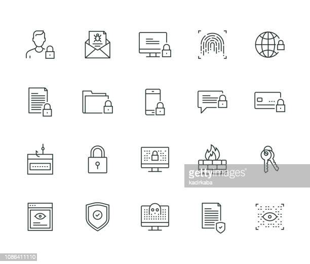 cyber security thin line series - privacy stock illustrations