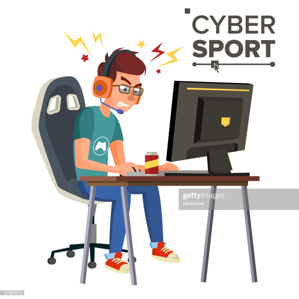 Cyber Sport Player Vector. Professional Gaming Stream Banner. Strategy Video Game. Competition. Cyber Games Tournament. Cartoon Character Illustration