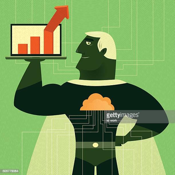 ilustraciones, imágenes clip art, dibujos animados e iconos de stock de cyber super héroe - fuerza