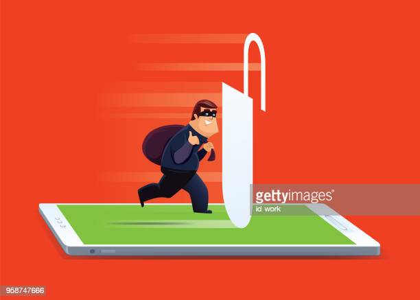 cyber thief with unlocked smartphone - malfarbe stock illustrations