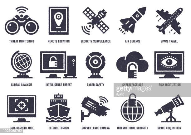 cyber warfare vector icon pack with stipple texture effect - defending stock illustrations