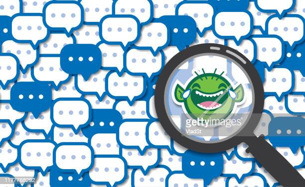 cyberbullying online chat text messages internet troll harassment concept - anti bullying symbols stock illustrations