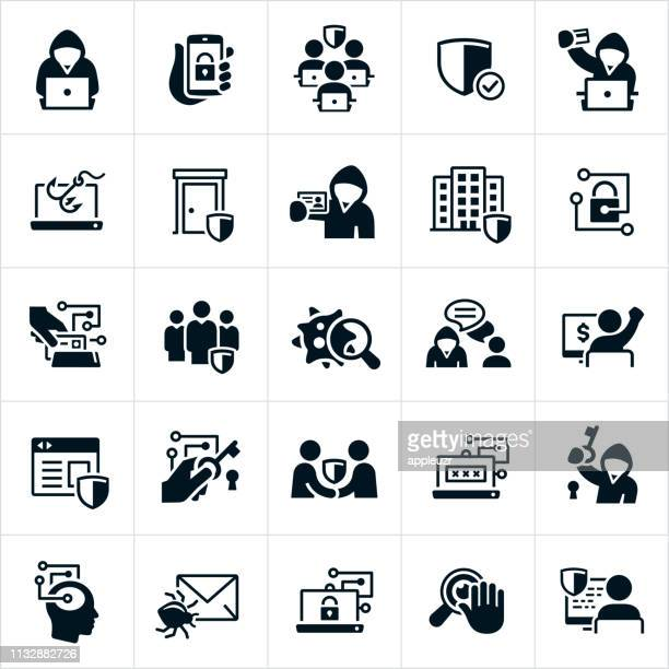cybersecurity icons - criminal stock illustrations