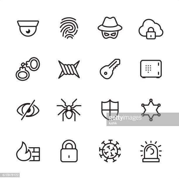 Cybersecurity - outline icon set