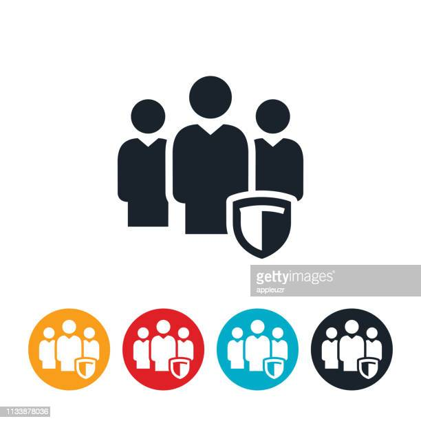 cybersecurity team icon - three people stock illustrations