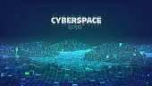 Cyberspace game city. Internet of Things. Futuristic technology background