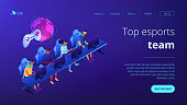 Cybersport team isometric 3D landing page.