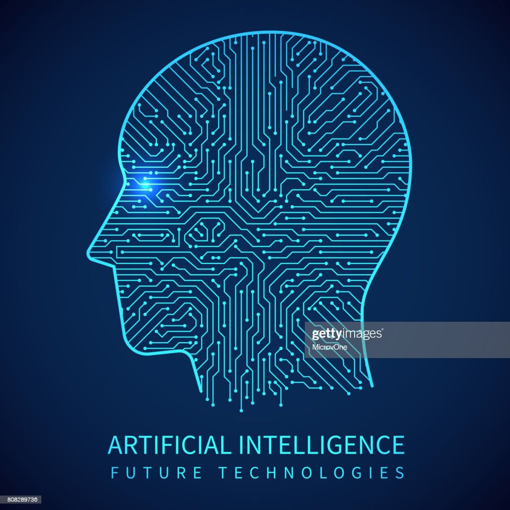 Cyborg head with circuit board inside. Artificial intelligence of digital human vector concept