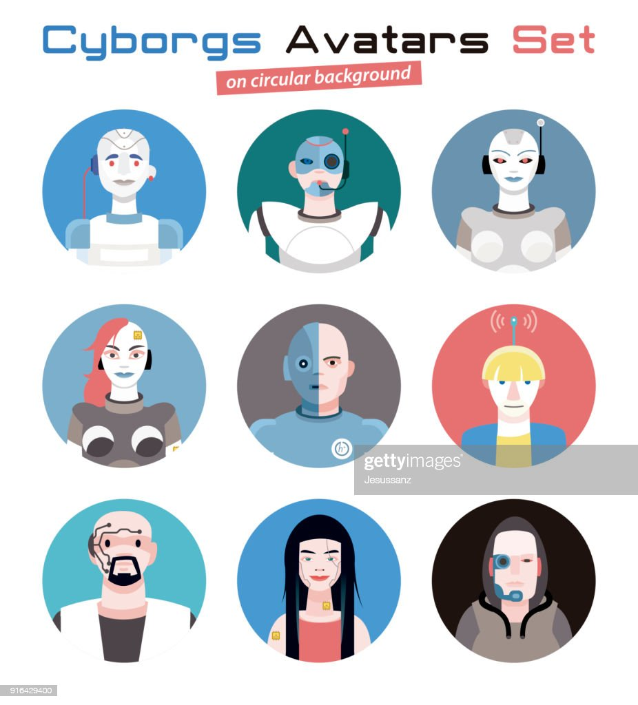 Cyborgs Avatars Set Circular