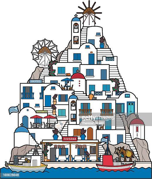 cycladic greek island - greek islands stock illustrations, clip art, cartoons, & icons