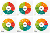 Cycle chart infographic templates with 3 4 5 6 7 8 parts, options, steps