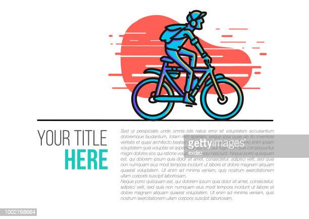 cycle rider illustration on page - editorial stock illustrations