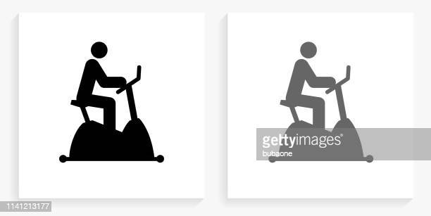 Cycle Workout Black and White Square Icon