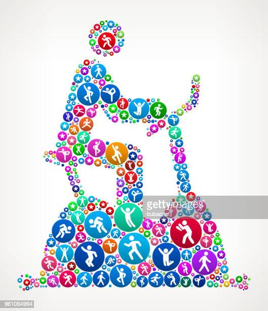 Cycle Workout People in Motion Fitness Icon Pattern