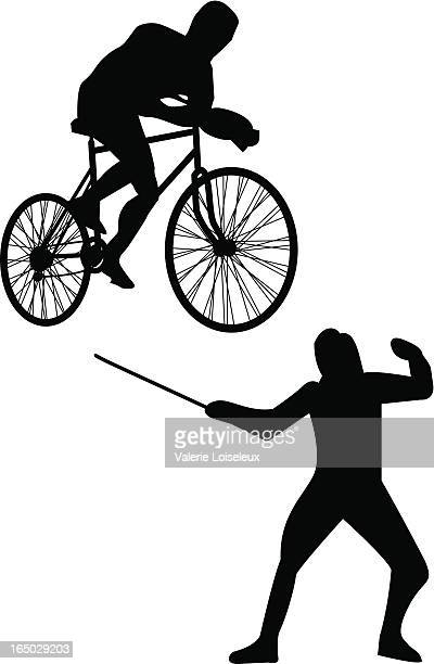 cycling and fencing - traditional sport stock illustrations, clip art, cartoons, & icons