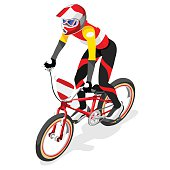 Cycling BMX  Sports 3D Isometric Vector Illustration