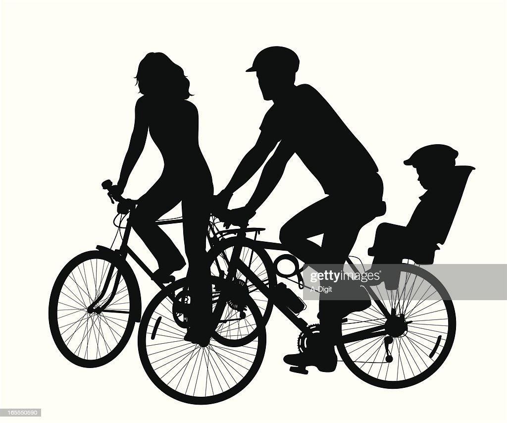 Cycling Family Vector Silhouette : stock illustration