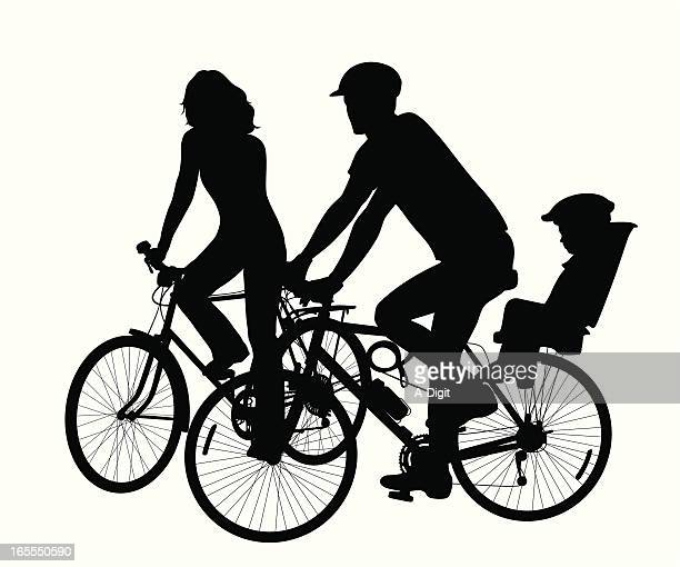 cycling family vector silhouette - family cycling stock illustrations, clip art, cartoons, & icons