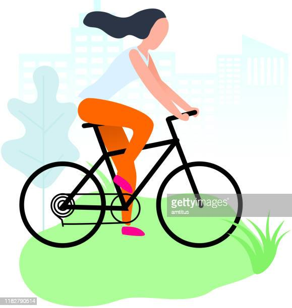 cycling girl - one young woman only stock illustrations
