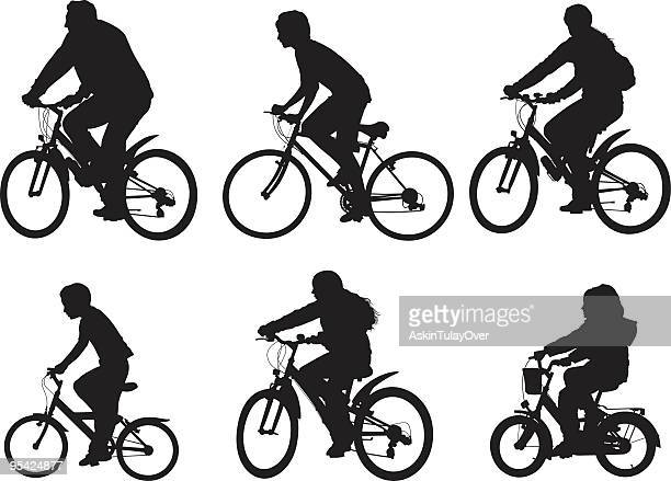 cycling group - family cycling stock illustrations, clip art, cartoons, & icons