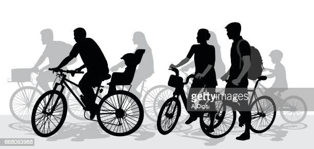 cycling groups - family cycling stock illustrations, clip art, cartoons, & icons