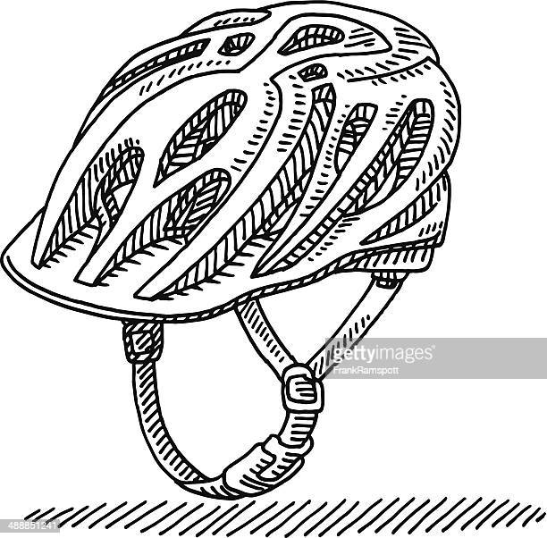 cycling helmet drawing - bike helmet stock illustrations, clip art, cartoons, & icons