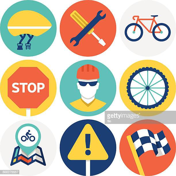 cycling icons and symbols - wheel stock illustrations, clip art, cartoons, & icons